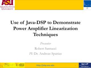 Use of Java-DSP to Demonstrate Power Amplifier Linearization Techniques