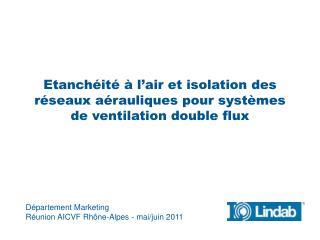 Département  Marketing Réunion  AICVF Rhône-Alpes - mai/juin 2011
