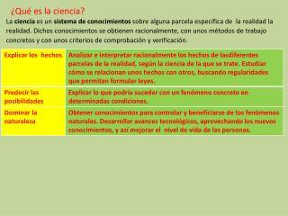 OBJETIVOS Y FUNCIONES BÁSICAS DEL CONOCIMIENTO CIENTÍFICO