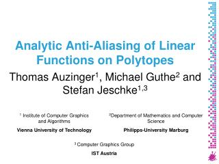 Analytic Anti-Aliasing of Linear Functions on Polytopes