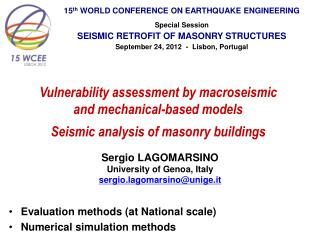 15 th  WORLD CONFERENCE ON EARTHQUAKE ENGINEERING Special Session