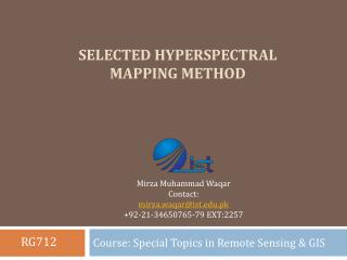 Selected Hyperspectral Mapping Method