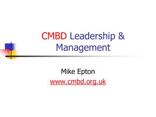 CMBD  Leadership & Management