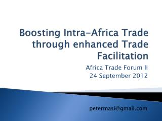 Boosting Intra-Africa Trade through enhanced Trade Facilitation