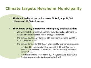 Climate targets  Hørsholm  Municipality
