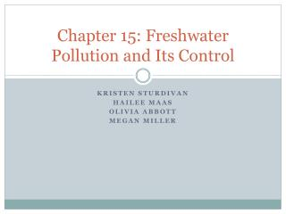 Chapter 15: Freshwater Pollution and Its Control