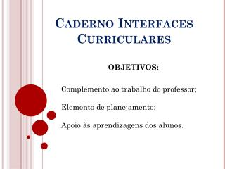 Caderno Interfaces Curriculares