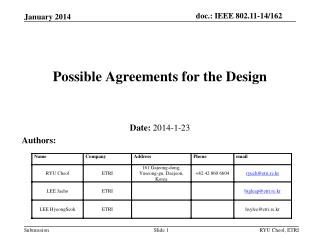 Possible Agreements  for the Design
