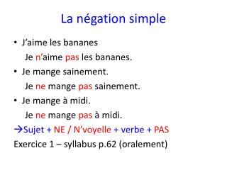 La négation simple