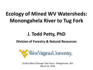 Ecology of Mined WV Watersheds:  Monongahela River to Tug Fork