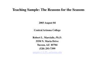Teaching Sample: The Reasons for the Seasons