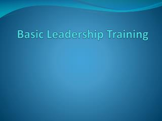 Basic Leadership Training