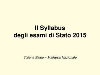 Il Syllabus degli esami di Stato 2015