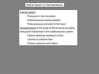 Arterial System & Hemodynamics