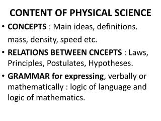 CONTENT OF PHYSICAL SCIENCE
