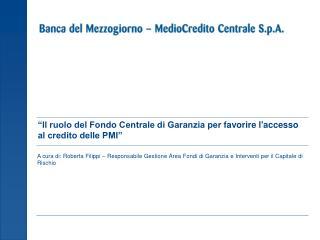 """""""Il ruolo del Fondo Centrale di Garanzia perfavorire l'accesso al credito delle PMI"""""""