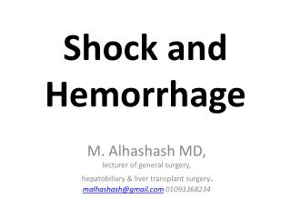 Shock and Hemorrhage