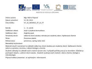 Jméno autora: Mgr. Mária Filipová Datum vytvoření:12. 09. 2013