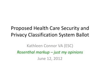 Proposed Health  Care Security and Privacy Classification System  Ballot