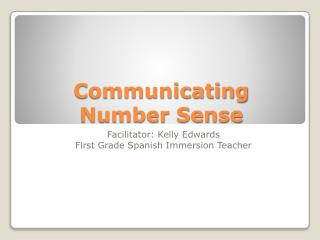 Communicating Number Sense
