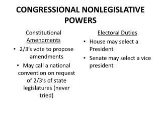 CONGRESSIONAL NONLEGISLATIVE POWERS