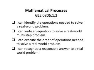 Mathematical Processes GLE 0806.1.2