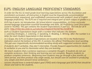 ELPS: English LANGUAGE Proficiency Standards