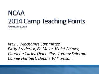 NCAA  2014 Camp Teaching Points Revised June 1, 2014