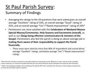 St Paul Parish  Survey :   Summary  of Findings