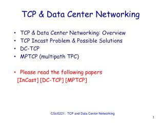 TCP & Data Center Networking