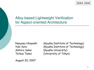 Alloy-based Lightweight Verification for Aspect-oriented Architecture