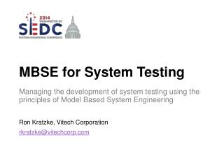 MBSE for System Testing