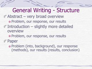 General Writing - Structure