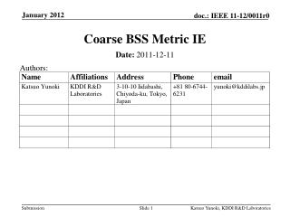 Coarse BSS Metric IE
