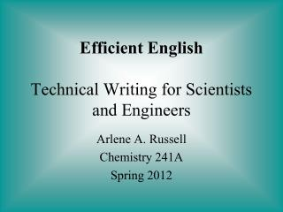 Efficient English Technical Writing for Scientists and Engineers