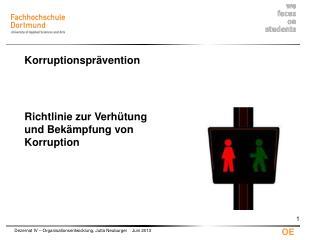 Richtlinie zur Verhütung und Bekämpfung von  Korruption