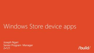 Windows Store device apps