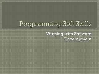 Programming Soft Skills