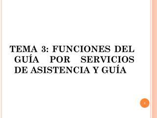 TEMA 3: FUNCIONES DEL GUÍA POR SERVICIOS DE ASISTENCIA Y GUÍA