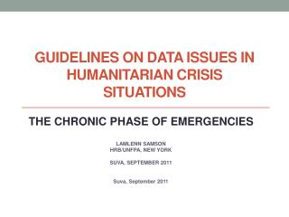 Guidelines on Data Issues in Humanitarian Crisis Situations