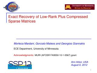 Exact  Recovery of Low-Rank Plus Compressed  Sparse Matrices