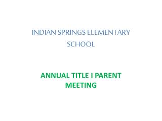 INDIAN SPRINGS ELEMENTARY SCHOOL