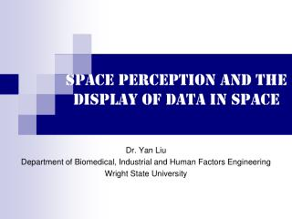Space perception and the display of data in space