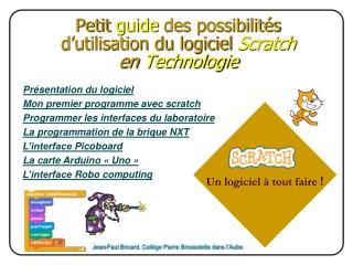 Petit  guide  des possibilités d'utilisation du logiciel  Scratch  en  Technologie