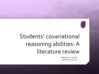 Students' covariational reasoning abilities: A literature  review