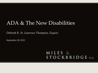 ADA & The New Disabilities