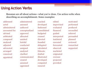 Using Action Verbs