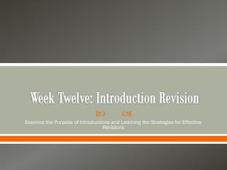 Week Twelve: Introduction Revision
