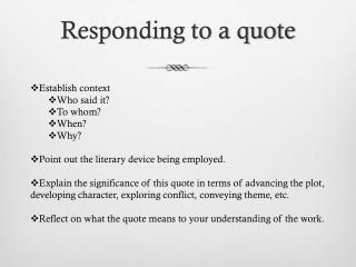 Responding to a quote