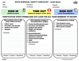 BCCH SURGICAL SAFETY  CHECKLIST � Audit Sheet